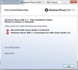 Windows Phone SDK 7.1 - ENU installation failed