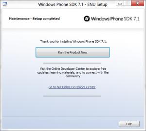 Windows Phone SDK 7.1 - Setup Complete