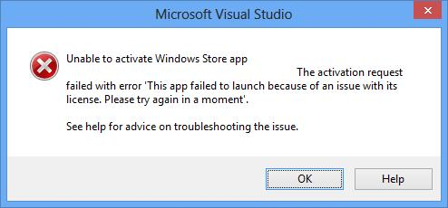 windows store failed to sync machine licenses